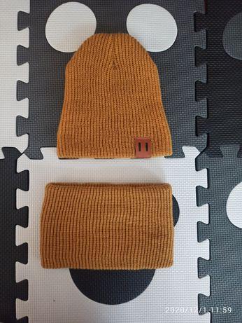 Komplet czapka i komin musztarda