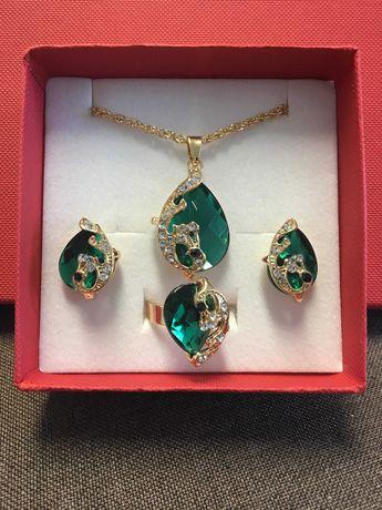 Szmaragdowe pawie ostatni komplet biżuteria na prezent
