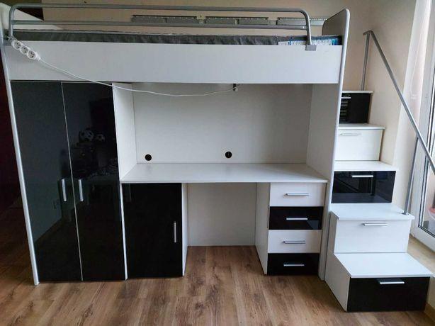 Łóżko piętrowe z szafą, biurkiem, kontenerkiem, szafką oraz schodami.