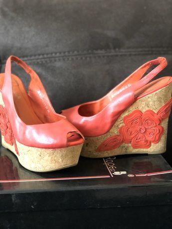 Летние стильные Босоножки, туфли, танкетка, очень удобные, кожа!