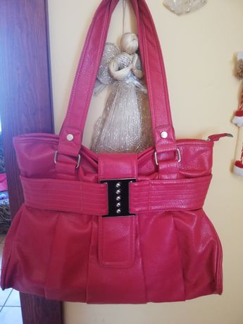 Duża różowa torebka na ramię