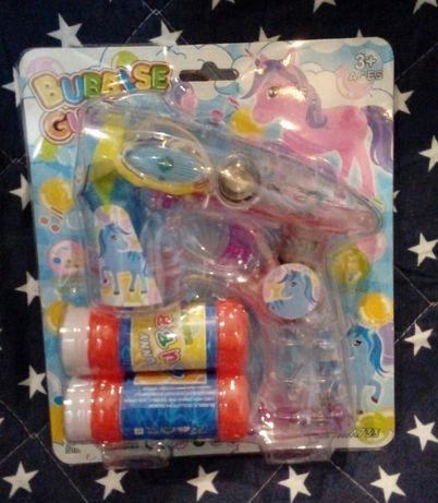 Pistolet do baniek gra,świeci,KONIK,2 płyny,baterie-NOWY-Dzień Dziecka