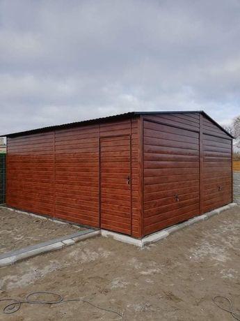 Garaż blaszany drewnopodobny nowoczesny premium