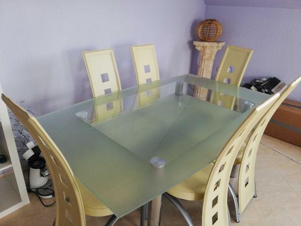 Zestaw: stół szklany + 6 krzeseł