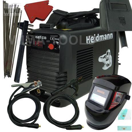 Spawarka Heidmann 330A 230V inwertorowa + elektrody, przyłbica zestaw