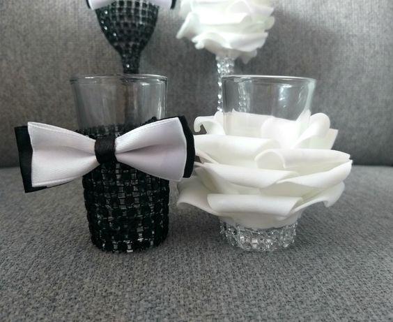 Ślubne kieliszki kwiaty 25ml cyrkonie szkło