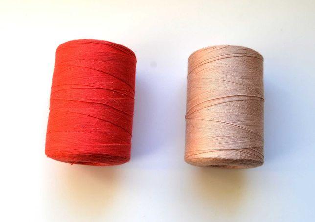 Nici bawełniane do szycia - czerwone i beżowe