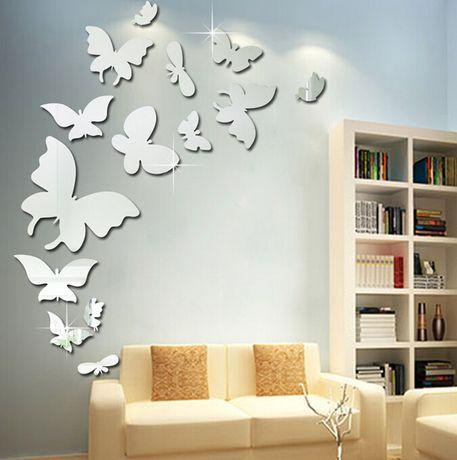 Naklejki na ścianę Lustrzane Motyle 3D 13szt. MS-0002
