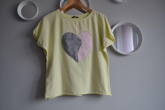 Bluzeczka z krótkim rękawem, t shirt żółta z sercem r.42