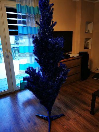 Sztuczna choinka, niebieska, składana 210cm.