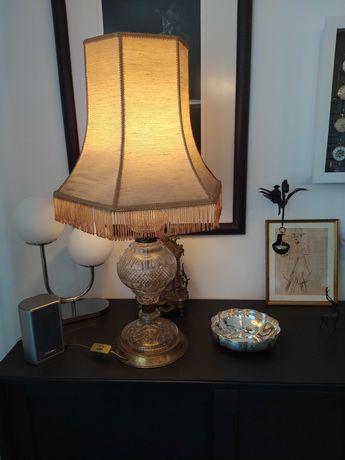 Antigo candeeiro mesa, vidro Marinha Grande, com abat-jour