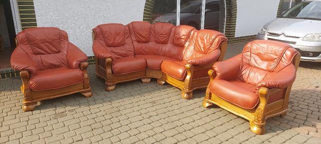 Komplet skórzany zestaw wypoczynkowy kanapa narożna kler