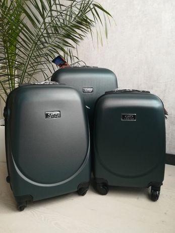 ИЗУМРУДНЫЙ чемодан ПОЛЬША сумка валіза пластиковый дорожный