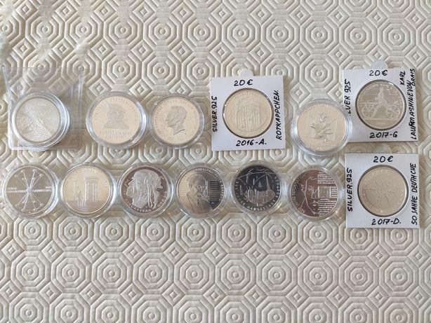 Moedas de 20 Euros da Alemanha. Prata 0,925