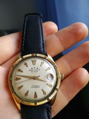 Zegarek szwajcarski AGIR watch pozłacany automat automatic 34mm