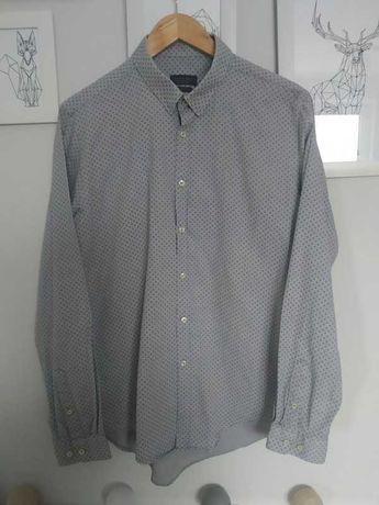 Męska szara koszula Zara slim fit z niebieskimi tłoczeniami, rozmiar M