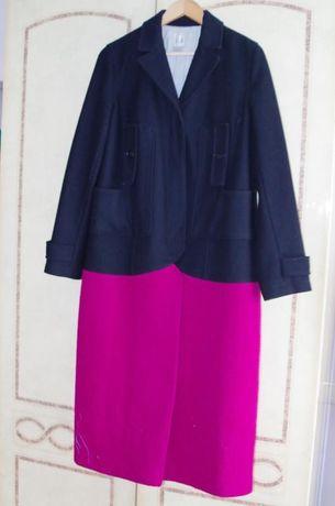 Шикарное темно-синие шерстяное пальто  оверсайз Gap