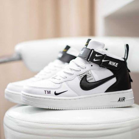 6110 Nike Air Force 1 Mid белые с черным кроссовки найк аир форс мех