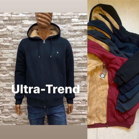 Теплые турецкие мужские толстовки куртки на меху