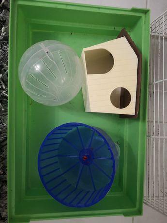 Gaiola hamster, bola, casa e roda