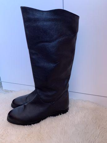 Черные сапоги -трубы, ботинки НАТУРАЛЬНАЯ КОЖА