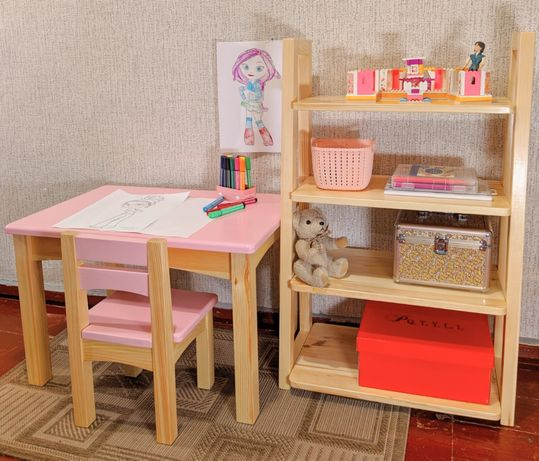 Детский столик и стульчик. Стол и стул из дерева
