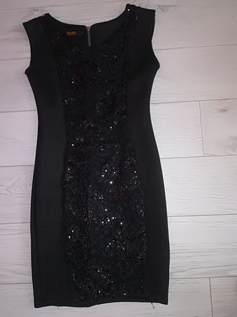 Sukienka NOWA czarna elegancka na wesele cekiny koronka rozmiar S