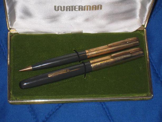 Vintage Set WATERMAN caneta e lapiseira na caixa GOLDEN 14kt Gold