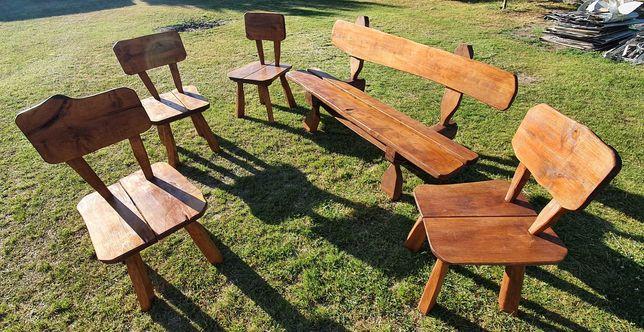 Krzesła ogrodowe + ławka z litego drewna