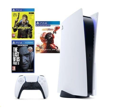 Playstation 5 Konsola PS5 + 3gry Cyberpunk 2077 + TLoU2 + StarWars