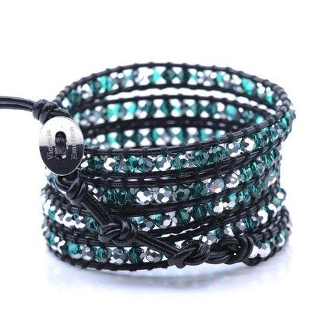 Кожаный браслет ручной работы с кристаллами от victoria emerson