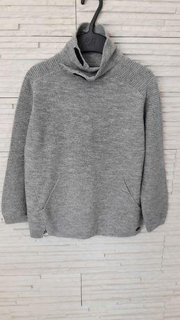 Bluza sweter szary melanż zara boy knite wear 122 jak nowa biker styl