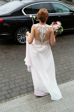 Suknia ślubna rozmiar 36-38 odcień pudrowego różu.OKAZJA!