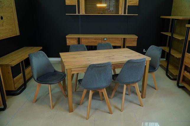 Promocja! Stół rozkładany 030 + 6 krzeseł MIA antracyt, nowe 1165 zł
