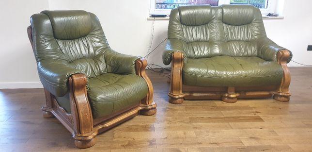 Zestaw wypoczynkowy skórzany dębowy używany kanapa fotel