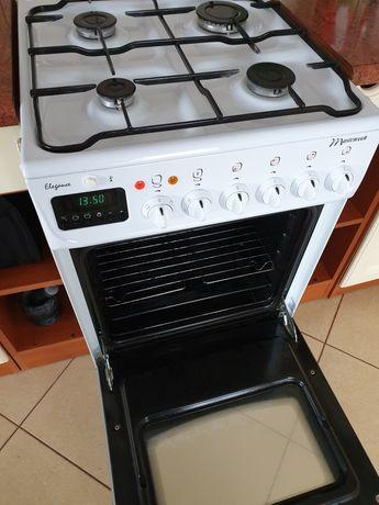 Biała kuchenka gazowa piekarnik elektryczny mastercook elegance