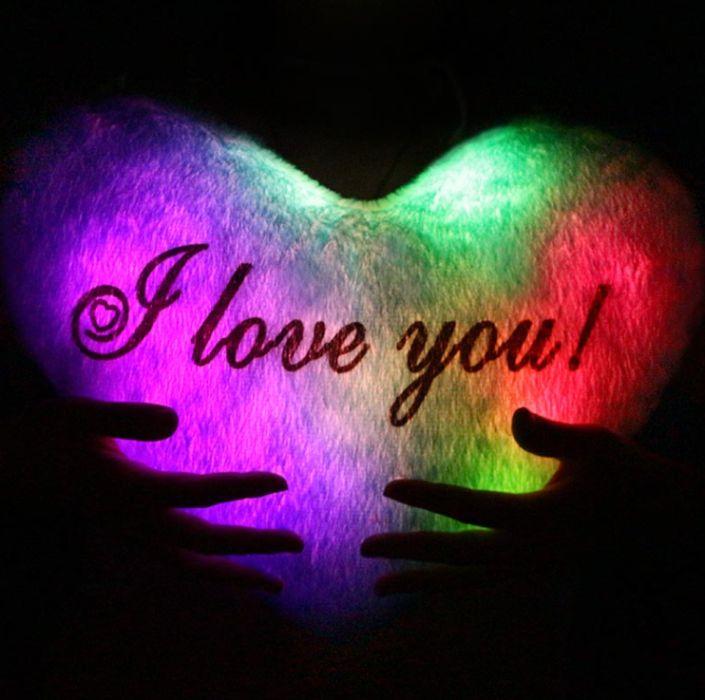 """Светящаяся подушка в форме СЕРДЦА (Синяя) с надписью """" I LOVE YOU"""" Одесса - изображение 1"""
