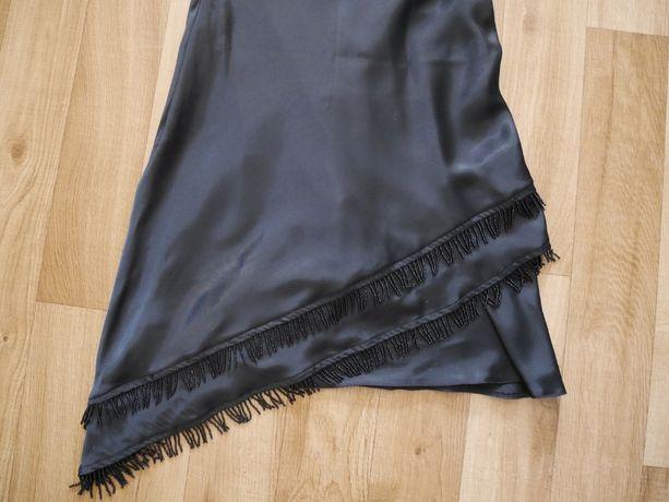 sukienka, czarna z koralikami, satynowa