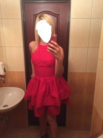 Piękna czerwona, balowa sukienka...OKAZJA