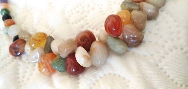 Naszyjnik kolia szlifowane kamienie