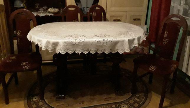Wielki stół salonowy 6 8 osób kuchenny, okazyjny! 4 krzesła chyba dąb
