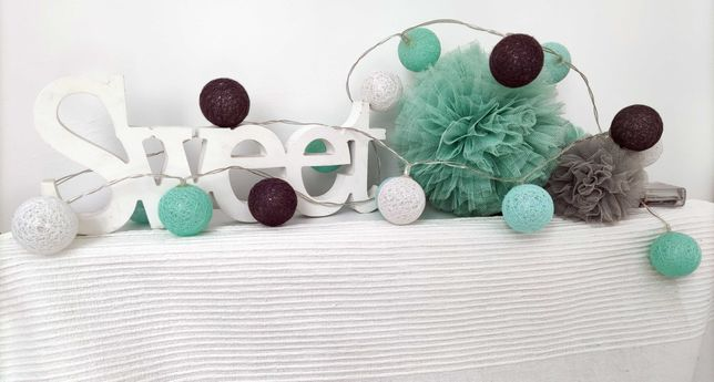cottonballs cottonball pompony tiulowe mietowe lampki dekoracje