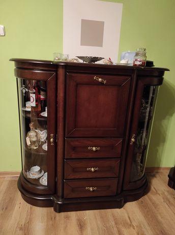 Zestaw mebli drewnianych salon +kanapa skórzana