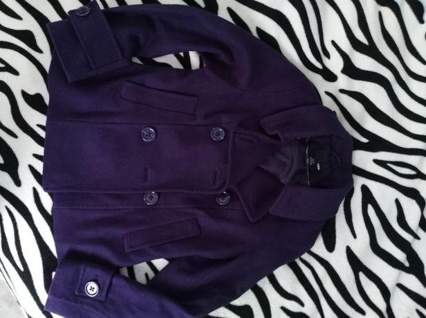 Fioletowy płaszczyk H&M roz 38 wełna