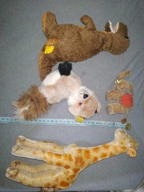 Stare zabawki maskotki Steiff żyrafa słoń dinozaur lis