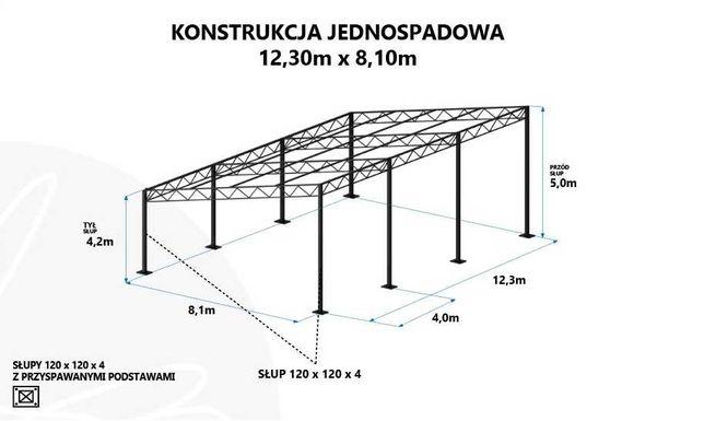 Konstrukcja stalowa, hale magazynowe, wiaty rolnicze- 8,1 x 12,3 x 4,2