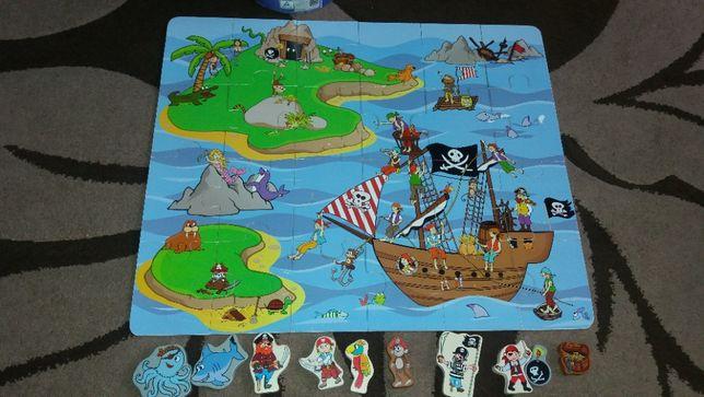 Klocki puzzle drewniane Pirat 34 elementy