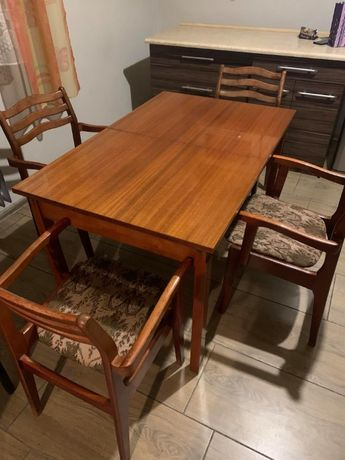 Stół drewniany rozkładany + 4 krzesła! - HIT! - DREWNO!