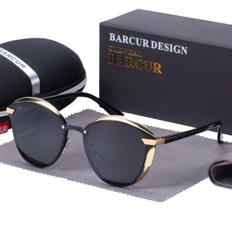 BARCUR luksusowe spolaryzowane okulary przeciwsłoneczne damskie okrągł