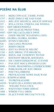 zestaw pieśni kościelnych tekst do rzutnika Tugal ze spisem numerów